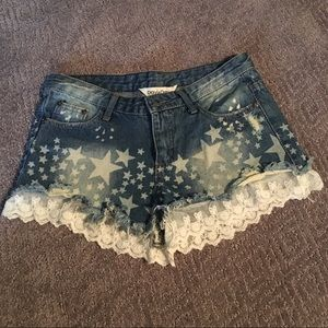 NWOT Denim Cutoff Star Shorts with Lace Detail